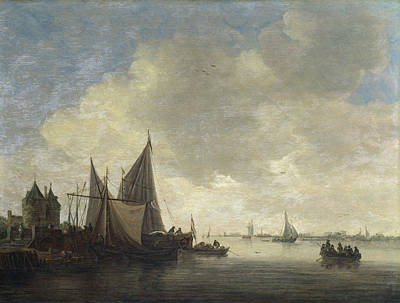 Urban Scenery Painting - The Mouth Of An Estuary With A Gateway by Jan van Goyen