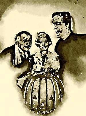 Television Painting - The Munsters by John Springfield