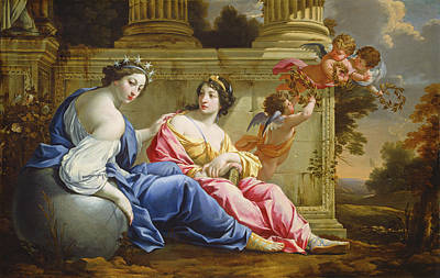 Painting - The Muses Urania And Calliope by Simon Vouet