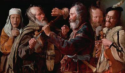 Violine Painting - The Musicians' Brawl by Georges de La Tour