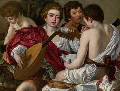 Violine Painting - The Musicians by Caravaggio
