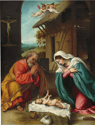 Painting - The Nativity by Lorenzo Lotto