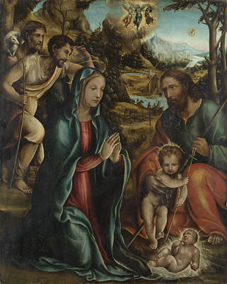 Digital Art - The Nativity With The Infant Baptist And Shepherds by Follower of Sodoma