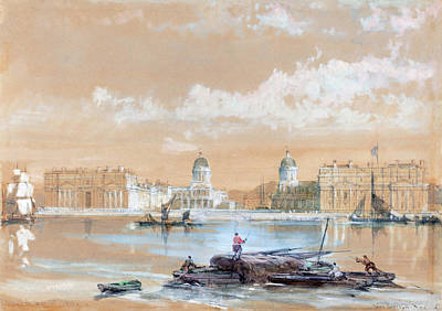 Painting - The Naval College From The River At Greenwich by David Roberts