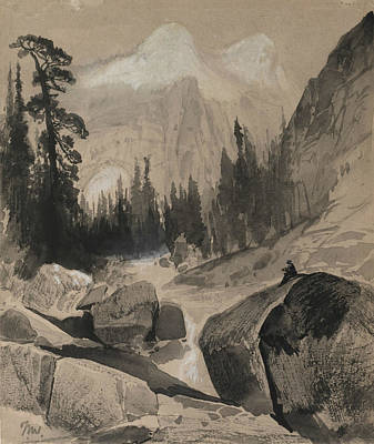 Yosemite National Park Drawing - The North Dome Yosemite California by Thomas Moran