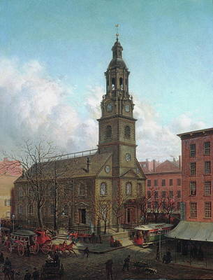 Medieval Temple Painting - The North Dutch Church, Fulton And William Streets, New York by Edward Lamson Henry
