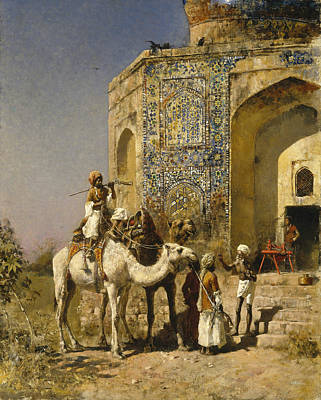 Painting - The Old Blue-tiled Mosque Outside Of Delhi, India by Edwin Lord Weeks