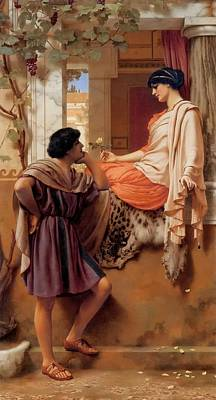 Villa Painting - The Old Old Story by John William Godward