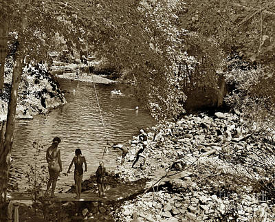 Photograph - The Ole Swimming Hole On The Carmel River Just Below The Bucket  1957 by California Views Archives Mr Pat Hathaway Archives