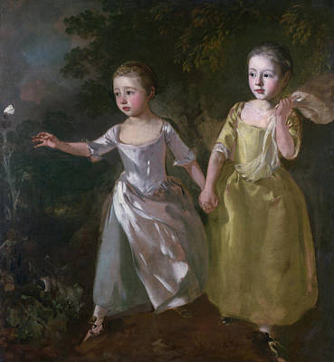 Britain Painting - The Painter's Daughters Chasing A Butterfly by Thomas Gainsborough