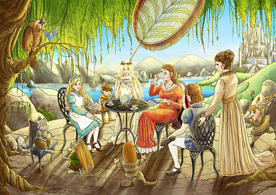 The Palace Garden Tea Party Art Print by Reynold Jay