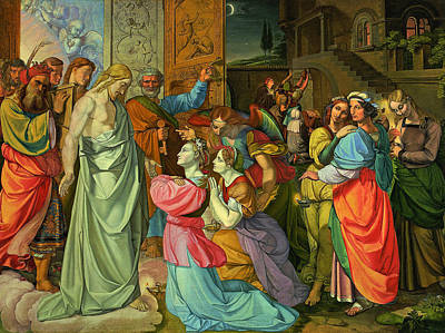 Jesus Art Painting - The Parable Of Wise And Foolish Virgins by Peter von Cornelius