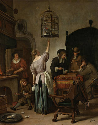 Interior Still Life Painting - The Parrot Cage by Jan Steen
