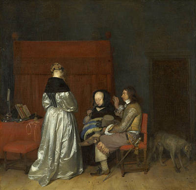 Dog Painting - The Paternal Admonition by Gerard ter Borch