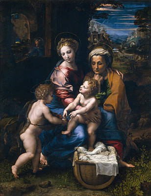 Holy Family Painting - The Pearl by Raffaello Sanzio