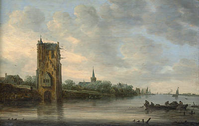 Fishing Painting - The Pelkus Gate Near Utrecht by Jan van Goyen