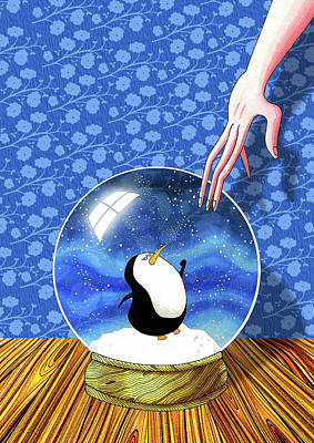 Snowfall Painting - The Penguin Who Didn't Like Snow  by Andrew Hitchen