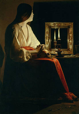 Mirror Painting - The Penitent Magdalen by Georges de La Tour