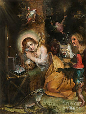 Seven Deadly Sins Painting - The Penitent Mary Magdalene Visited By The Seven Deadly Sins by Celestial Images