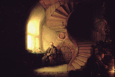 Yoga Painting - The Philosopher In Meditation by Rembrandt van Rijn
