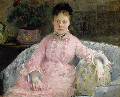 Seat Painting - The Pink Dress by Berthe Morisot