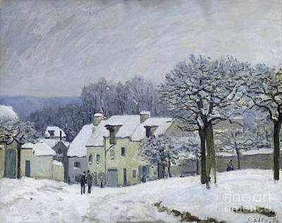 Winter Scene Painting - The Place Du Chenil At Marly Le Roi by Alfred Sisley