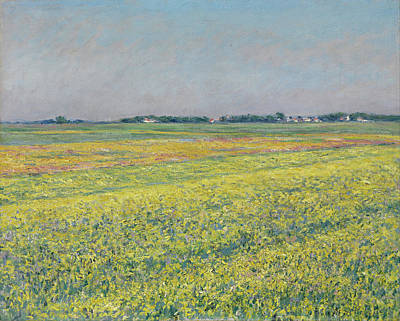 Caillebotte Painting - The Plain Of Gennevilliers, Yellow Fields by Gustave Caillebotte