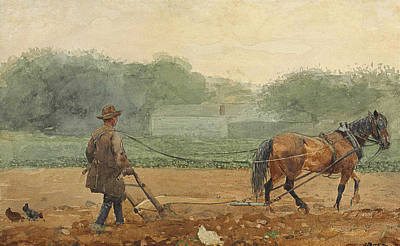 Winslow Homer Drawing - The Plowman by Winslow Homer