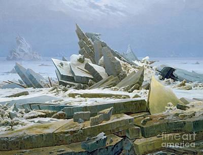 Romanticist Painting - The Polar Sea by Caspar David Friedrich