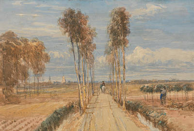 Painting - The Poplar Avenue, After Hobbema by David Cox