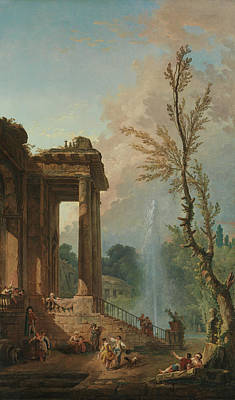 Painting - The Portico Of A Country Mansion by Hubert Robert