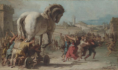The Procession Of The Trojan Horse Into Troy Art Print