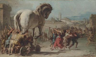 Procession Digital Art - The Procession Of The Trojan Horse Into Troy by Giovanni Domenico Tiepolo
