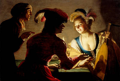 Candle Painting - The Procuress by Gerard van Honthorst