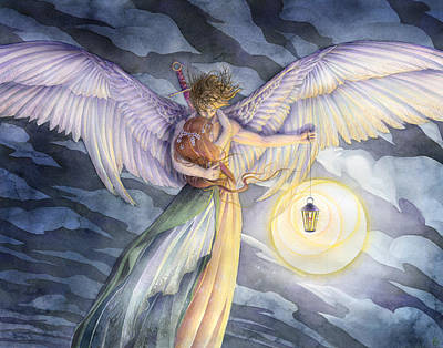 Angels Art Painting - The Protector by Sara Burrier