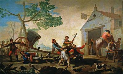 Horseback Painting - The Quarrel In The New Tavern by Francisco Goya