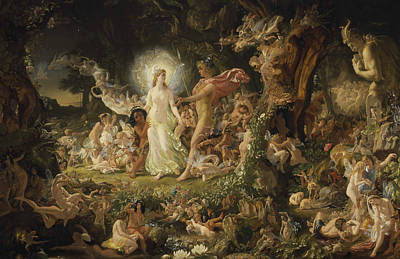 The Quarrel Of Oberon And Titania Art Print by Joseph Noel Paton
