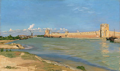 River Painting - The Ramparts At Aigues-mortes by Frederic Bazille