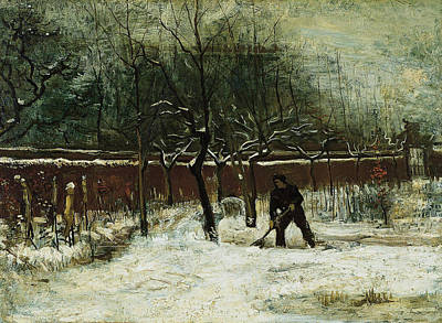 Park Scene Painting - The Rectory Garden In Nuenen In The Snow by Vincent van Gogh