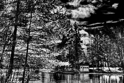The Red Boathouse In Old Forge Art Print