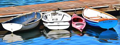 The Red Kayak Morro Bay California Painting Art Print by Barbara Snyder