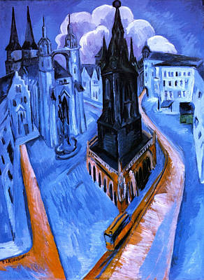 Townscape Painting - The Red Tower Of Halle by Ernst Ludwig Kirchner