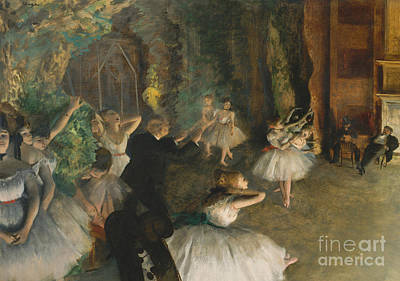The Rehearsal Of The Ballet On Stage Art Print by Edgar Degas