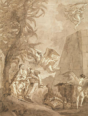 Drawing - The Rest On The Flight Into Egypt by Giovanni Domenico Tiepolo