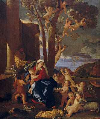 Child Jesus Painting - The Rest On The Flight Into Egypt by Nicolas Poussin