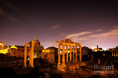 Photograph - The Roman Forum, Italian Foro Romano In Rome, Italy At Night by Michal Bednarek