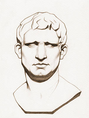 Statue Portrait Drawing - The Roman General - Marcus Vipsanius Agrippa - In Sepia by Stevie the floating artist