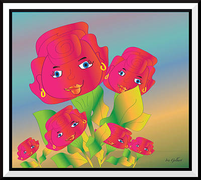 Digital Art - The Rose Family #2 by Iris Gelbart