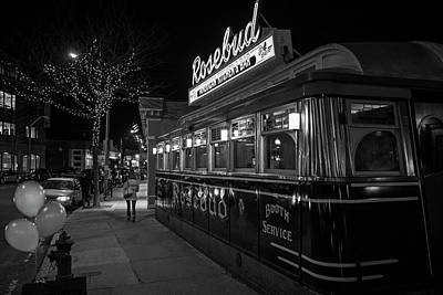 Photograph - The Rosebud Diner Davis Square Somerville Ma Balloons Black And White by Toby McGuire