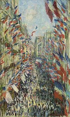 The Rue Montorgueil In Paris Art Print by Claude Monet